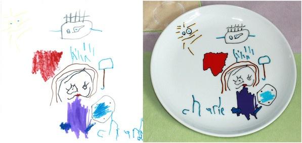 Assiette réalisée par Cyndy Ochoa, lartiste-reproductrice de LE MONDE DE CYNO, inspirée par les illustrations qui PUNCH LOEIL du PETIT ARTISTE «PUNCHEUR», Charlie, l'un des GRANDS GAGNANTS DU PREMIER CONCOURS POUR UNE FÊTE DES MÈRES QUI PUNCH LŒIL !