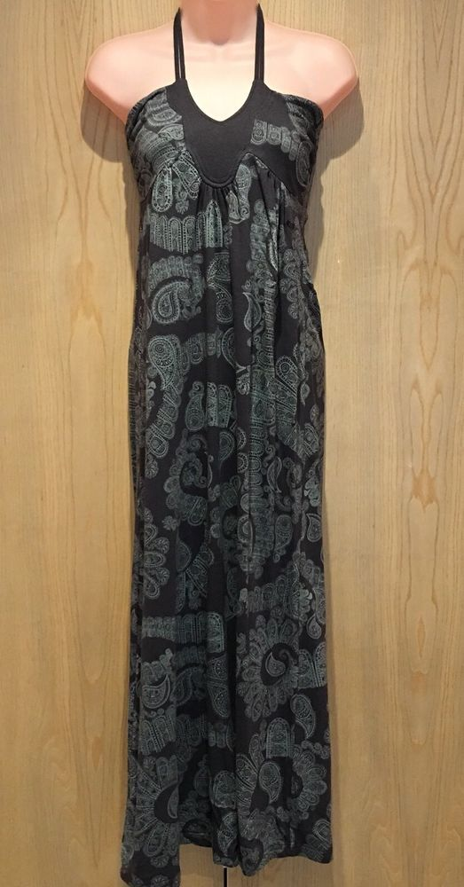 dbc2e2009893 Roxy Size S (UK 8) Maxi Dress Halter Neck Tie Brown & Green Paisley Print  Long #fashion #clothing #shoes #accessories #womensclothing #dresses (ebay  link)