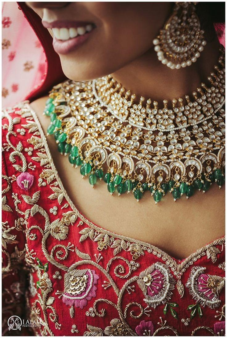 large multi-strand choker necklace | Gujarati Sindhi Wedding Toronto | Ialam Photography | indian bridal jewelry #indianweddings