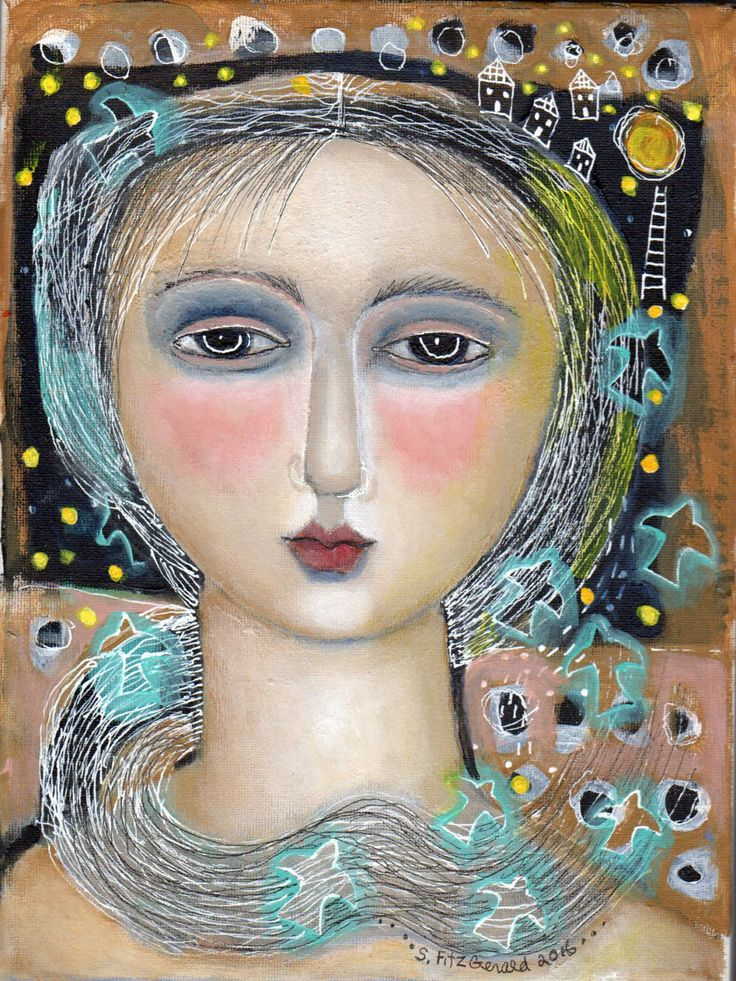 Original mixed media painting on stretched canvas night moon birds woman by kittyjujube on Etsy
