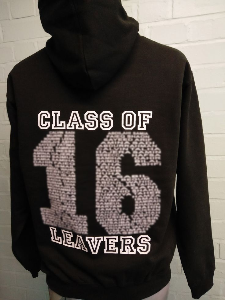 """Looking great for Bigland Green Primary School Class of 16 Leavers Hoodies. These Black coloured Leavers Hoodies have the school's logo custom embroidered to the front and then """"Names"""" Leaver's print on the back."""