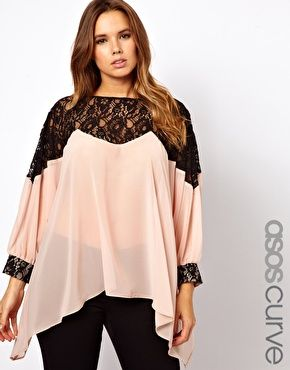 ASOS CURVE Top With Lace Trim and Cuff @Joslyn Headd - with a cute pair of skinny jeans???