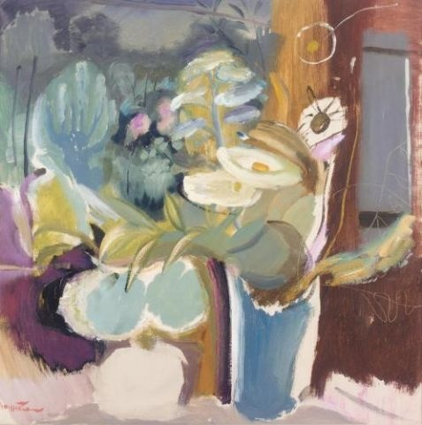 Ivon Hitchens Flowers before a window.