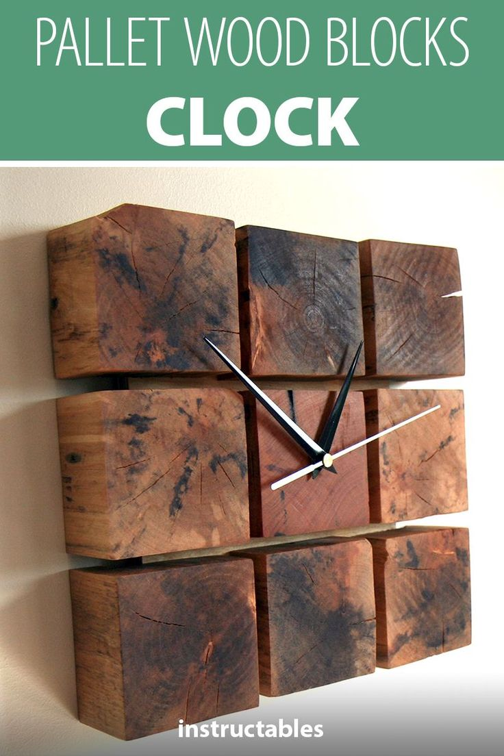 Upcycle pallet wood blocks into a rustic clock. #home #decor #woodworking #workshop #upcycle