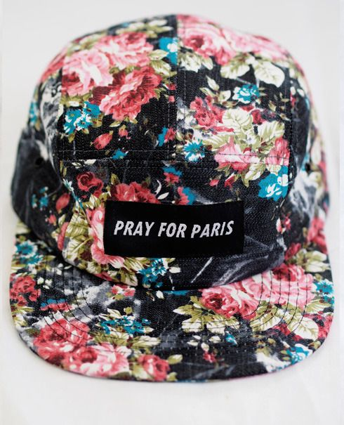 Image of Pray for Paris wallpaper print 5 panel hat