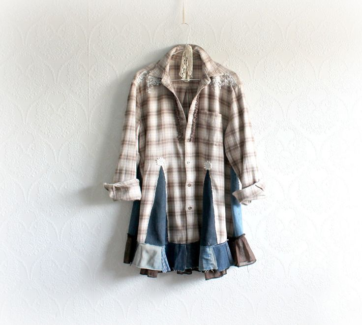 Plaid Flannel Shirt Boho Chic Tunic Upcycled Clothing Rustic Bohemian Recycled Denim Jeans Women Casual Clothes Flare A-Line Top XL 'STELLA' by BrokenGhostClothing on Etsy https://www.etsy.com/listing/253933955/plaid-flannel-shirt-boho-chic-tunic