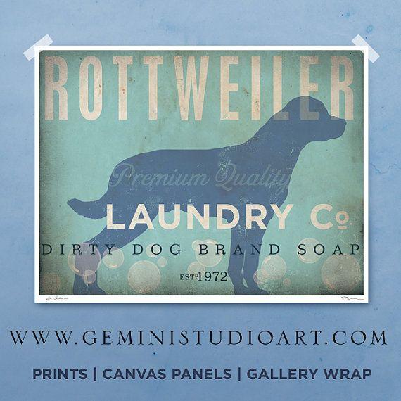 Rottweiler laundry company laundry room artwork by geministudio, $25.00