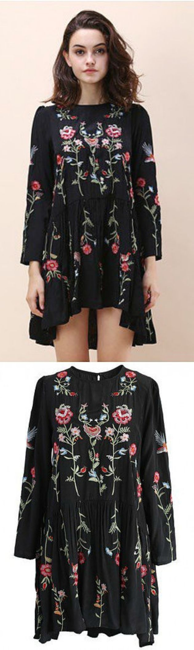 $49 - A Black Embroidery Dress is now available at Pasaboho. ❤️ This beautiful dress exhibit brilliant colours with beautiful embroidered flowers. :: boho fashion :: gypsy style :: hippie chic :: boho chic :: outfit ideas :: boho clothing :: free spirit :: fashion trend :: embroidered :: flowers :: floral :: lace :: summer :: fabulous :: love :: street style :: fashion style :: boho style :: bohemian :: modern vintage :: ethnic tribal :: boho bags :: embroidery dress :: skirt :: cardigans