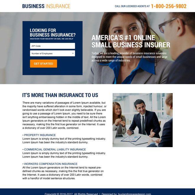 Minimal Business Insurance Responsive Landing Page Business