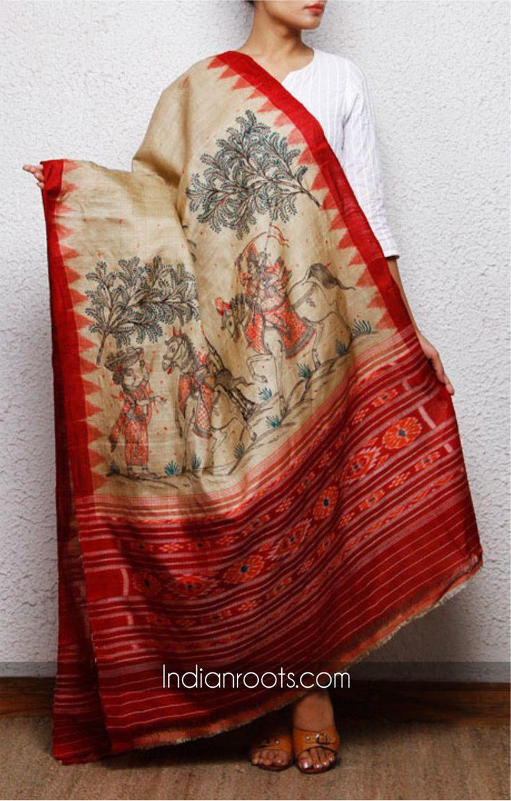 Tussar silk dupatta featuring hand painted Patachitra art.