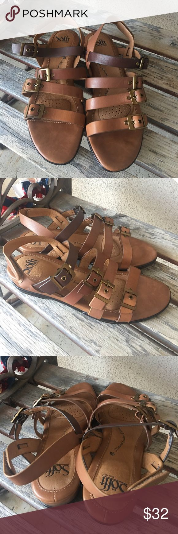 Sofft brown leather ombré buckle sandals size 8 Sofft brown leather ombré buckle sandals size 8.  Velcro backing.  New without box. Final price. No offers please❤️ Sofft Shoes Sandals