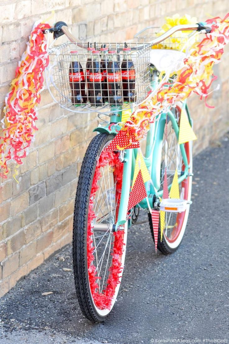 Bike Decorating for a Bicycle Parade by Kara's Party Ideas   Kara Allen for Coca Cola #ThatsGold-9