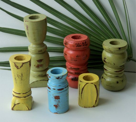 candle holders made from recycled furniture legs, tropical