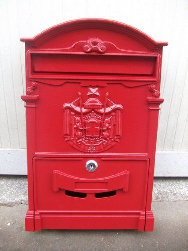 """red Industrial Commercial aluminum wall-mount security Mailbox mail box w/ key lock by newnews. $105.00. -Exterior: 16"""" x 9.5"""" x 3""""/41x25x8cm   -Interior: 15.75"""" x 9.35"""" x 2.75""""   -Mail-Insert Slot Opening: 8.5"""" x 1.25""""/22x3.7cm   - Letter Door Width: 9.25""""   -Wall thickness: Varies from 1.58mm to 4.76mm   -Weight: 4lbs & 2.7oz   Features:   -100% Die-Cast Aluminum; Antique Bronze finished.   -Duo Springs letter slot cover; Powder coated both inside and out.   -K..."""