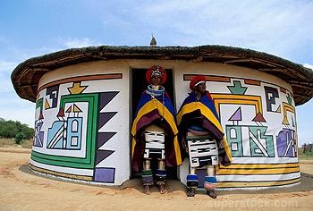 Africa | Ndebele ladies outside the house, Mabhoko Weltevre Ndebele village, South Africa | ©Robert Harding