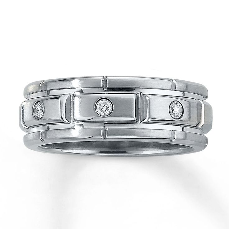 Kay Jewelers Mens Wedding Band 1/10 ct tw Diamonds Stainless Steel