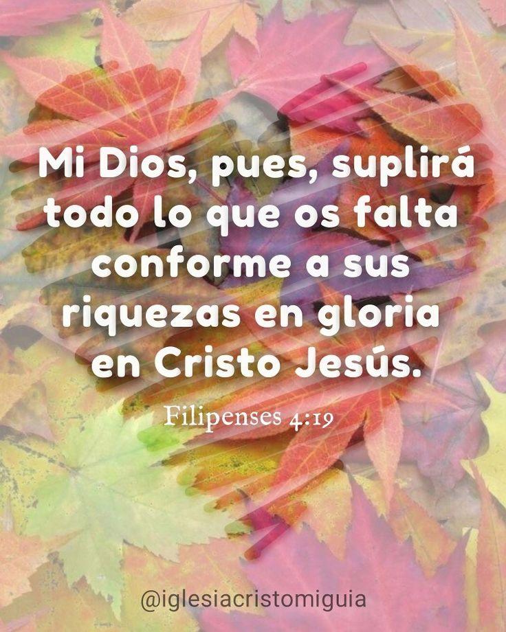 """""""Mi Dios, pues, suplirá todo lo que os falta conforme a sus riquezas en gloria en Cristo Jesús."""" Filipenses 4:19"""