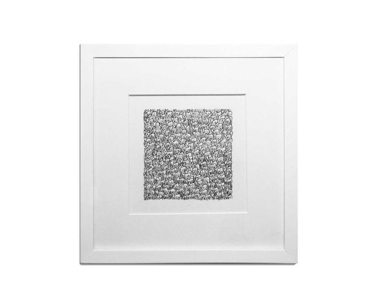 Multitud cuadrada. Tinta y grafito. 25 x 25 cm.  Diego Almarza, Taller PUdú.