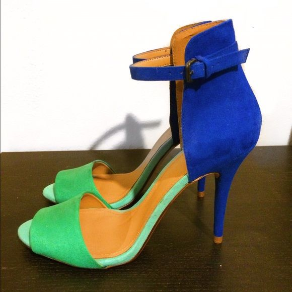 Strappy Heels Blue & turquoise heels from Zara. Never been worn. Zara Shoes Heels