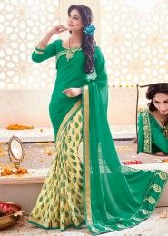 Party Wear Green Georgette Printed Saree