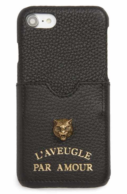 new product 45aea 3e58d Gucci Tiger L'Aveugle Par Amour Leather iPhone 7 Case | links for ...