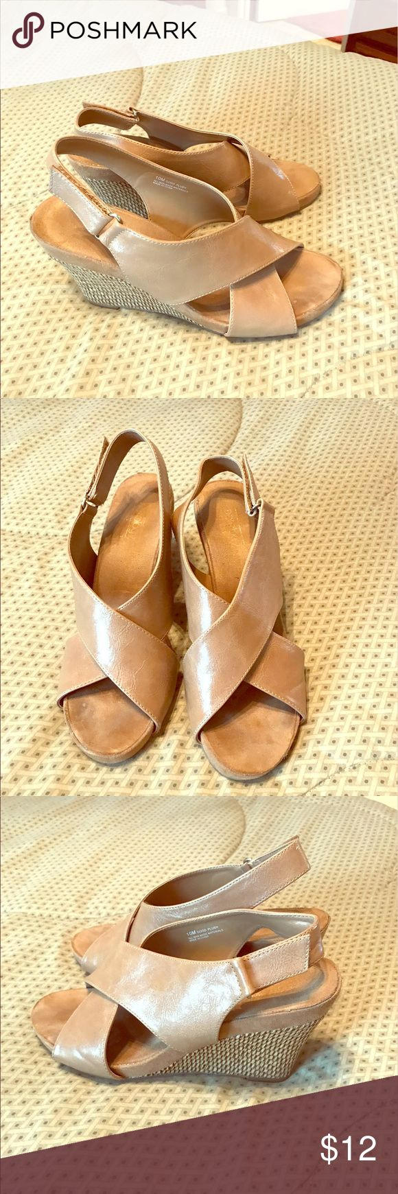 Ladies wedge sandals Tan wedge sandals, EUC with lots of life left! Bare Anthology Shoes Sandals