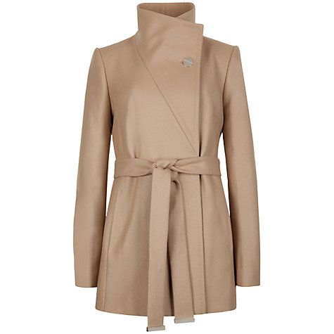Ted Baker Short Belted Wrap Coat in Taupe