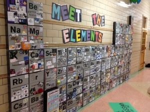 3D Periodic Table made with Cereal Boxes, AWESOME! Would be a nice collaborative project for multiple classes. Assign each student an element and then assemble into the final Table.