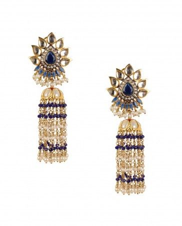Dangling Jhumka Earrings with Kundan Floral Top by Preeti Mohan Shop Now: http://bit.ly/preetimohanei #Golden #Jewelry #Silver #India #Designer #PreetiMohan #Indian #Tribal #StatementJewelry #Pearl #Contemporary #ExclusivelyIn #Jewellery #Multicolor #Earrings #Multicolour #Beads #Crystals #Stones #Luxury #Bling #Emerald #Jhumka
