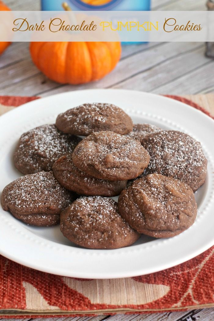 Dark Chocolate Pumpkin Cookies. Soft, chocolatey, and with a hint of ...