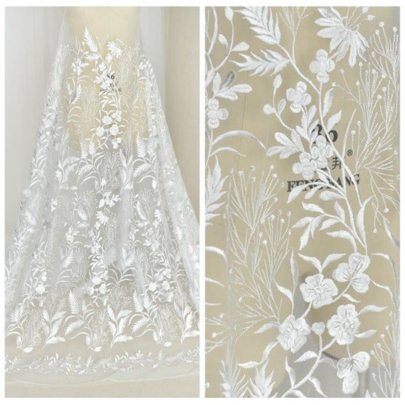 Mesh Bridal Veil Lace Fabric By The Yard Beautiful Flower Lace Fabric Tulle Embroidery Lace Fabric for Wedding Dress