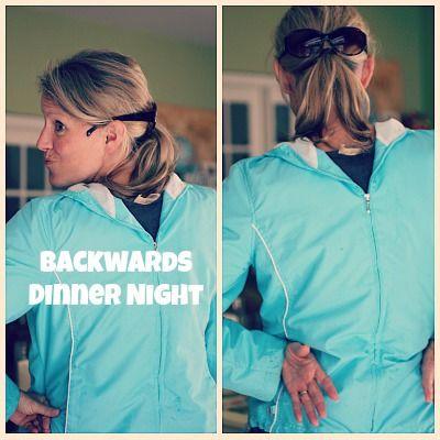 Backwards Dinner Night Fun Kid Dinner Ideas: Eat UNDER the Table, Dessert for Dinner!  These ideas are so fun!