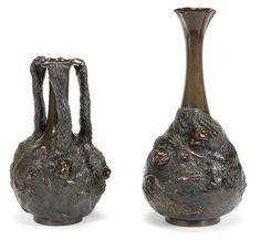 Two bronze vases  One by Kazan and one by Seiko, Meiji era (1868-1912)