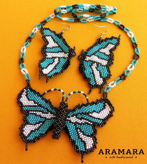 Huichol butterfly necklace and earrings set by Aramara on Etsy (www.etsy.com/uk/people/Aramara)