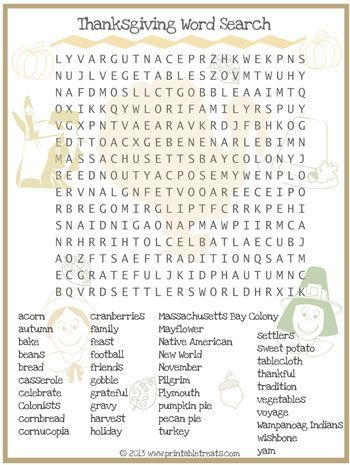 thanksgiving word search for kids printable