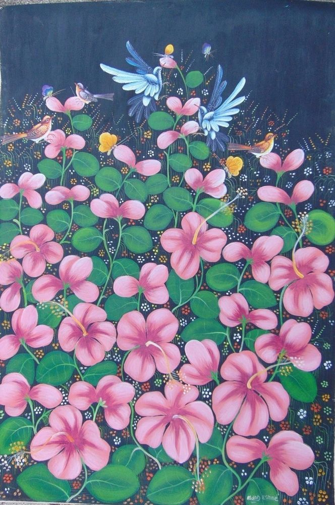 "Haitian Caribbean art painting famous artist Aland Estime Haiti 35"" X 24"" Garden #Naif"