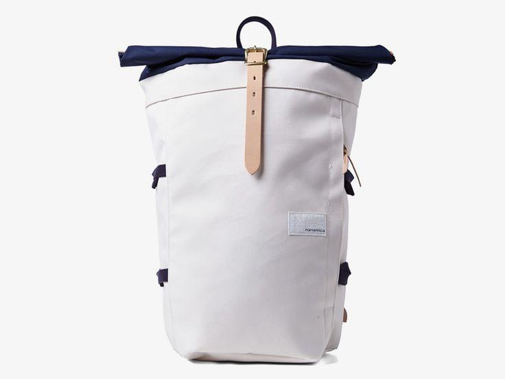 Nanamica white/grey canvas backpack / Plátěný batoh Nanamica – bílý, šedý  #nanamica #backpack #batoh #canvas #cordura #trendy #stylovy #bily #sedy #grey #white