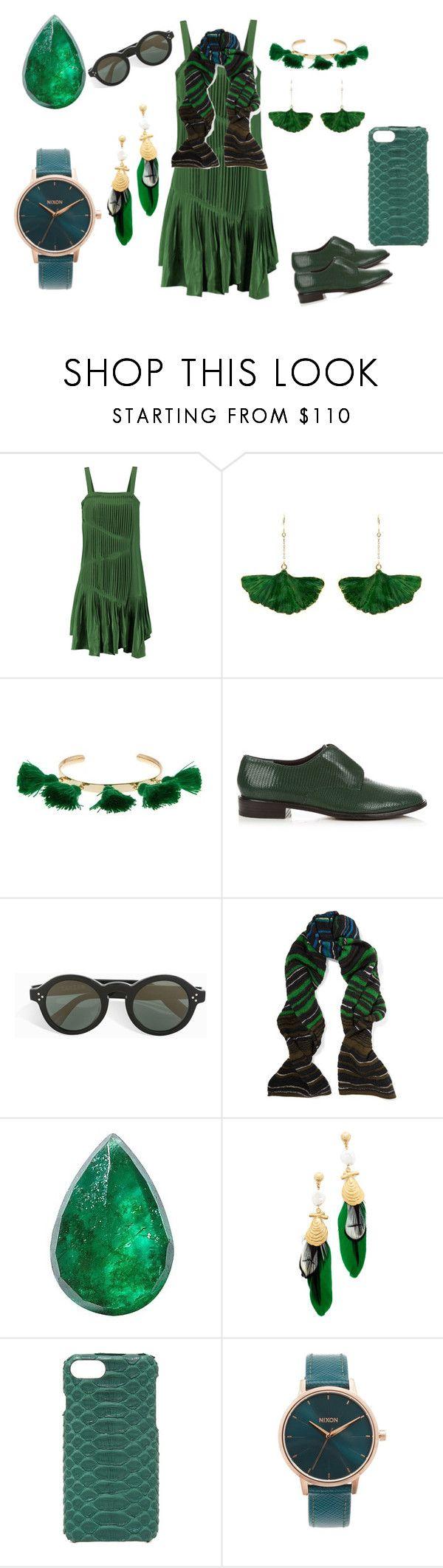 """""""Go green"""" by camry-brynn ❤ liked on Polyvore featuring TIBI, Aurélie Bidermann, Marte Frisnes, Robert Clergerie, Zanzan, M Missoni, Loquet, Gas Bijoux, Valenz Handmade and Nixon"""