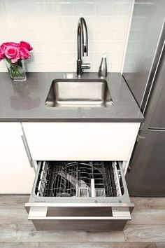Small kitchen solutions! one drawer dishwasher. Jennifer's Small Space Kitchen Renovation: The Big Reveal — Renovation Diary