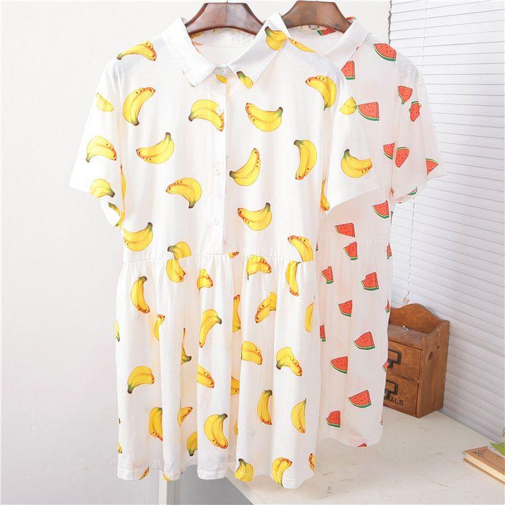 2014 New Summer women casual dress banana ice cream watermelon print turn down collar white cotton dresses HIGH QUALITY