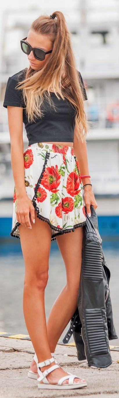 Yeah Bunny White Multi Poppies Culotte Shorts