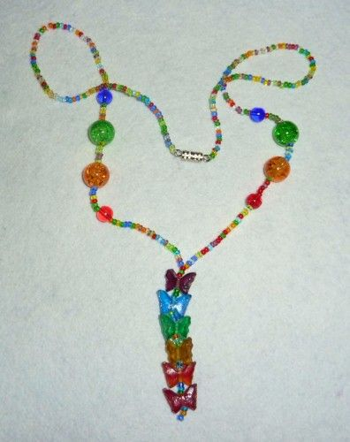 Peace Love and Rainbow Butterflies Necklace