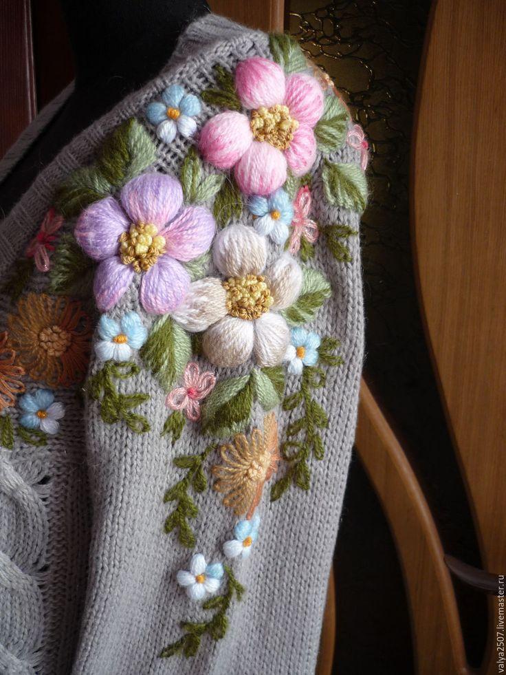 """Купить вышивка на одежде"""" Жакет"""" ручная вышивка - комбинированный, цветочный, вышивка, вышивка ручная, разнообразные"""