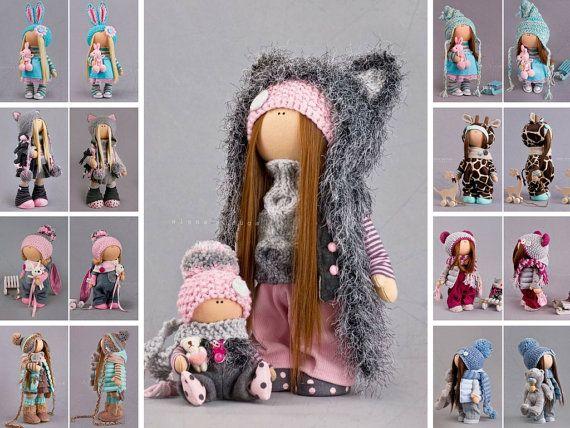 Winter Doll Tilda Doll Baby Doll Interior Doll Art Doll Gray