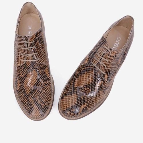 Pantofi Oxford din piele naturala cu imprimeu tip piele de reptila Snake