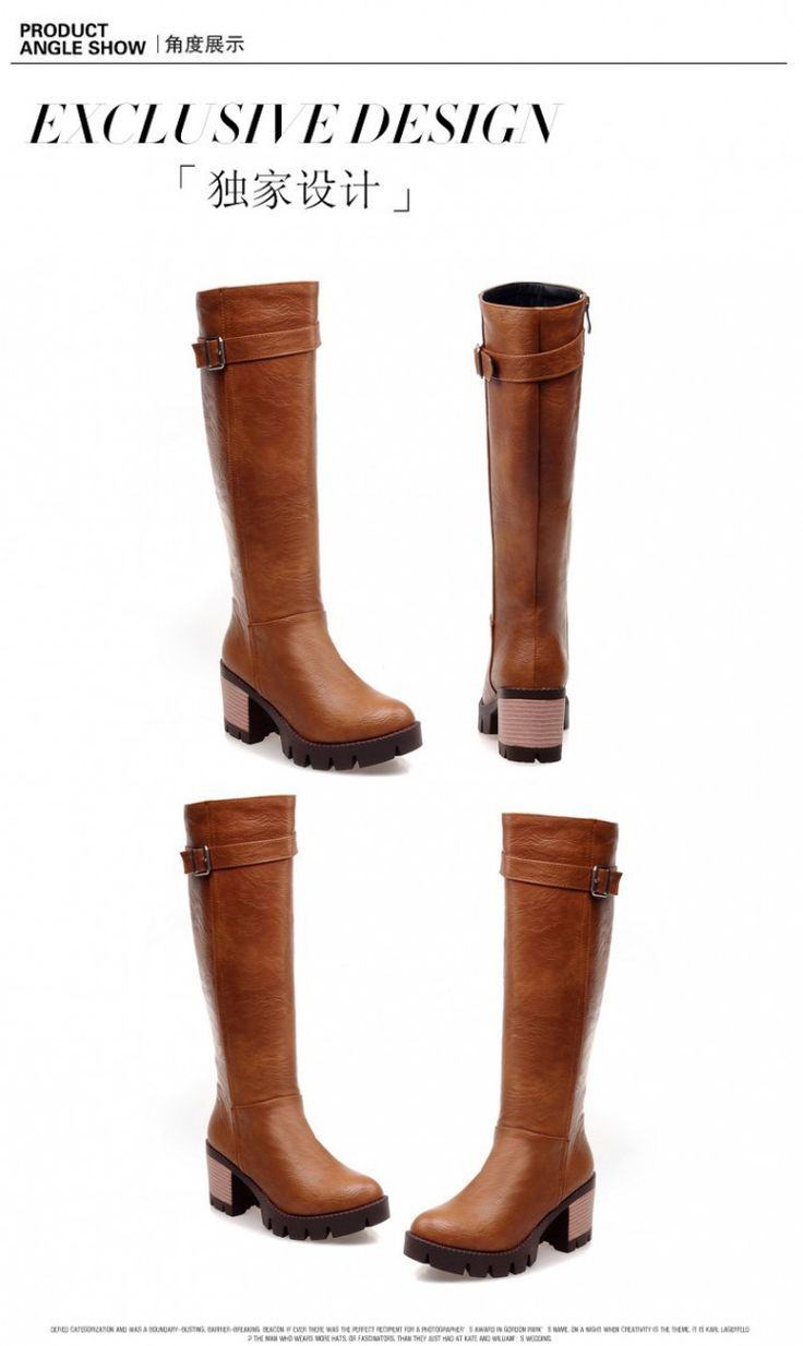 Women winter motorcycle boots brown snow booties PU leather high heels femmes schuhe botas cuissardes bottine a talon