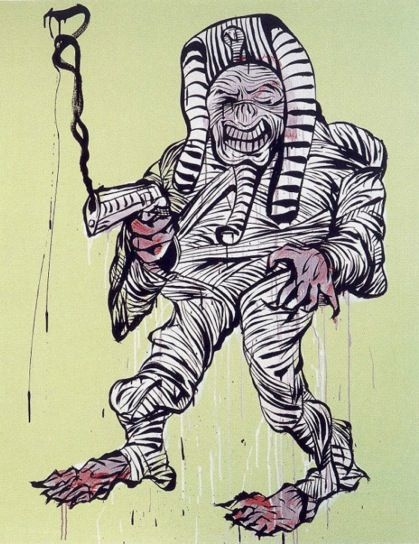 "A classic Adam Cullen ""Mummy"" - a mad genius:)! Sadly he died in 2012 at just 47years, but not without leaving his mark.!! Work is available for purchase. www.jeartconsultants.com.au"