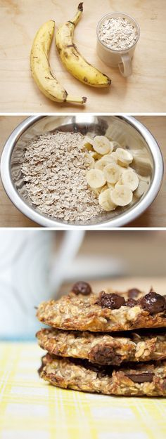 Galletas de avena y banana : 1 taza avena y 2 bananas (+ nueces/ choc chips /uvetta) - Bake in 180C for about 15 min.