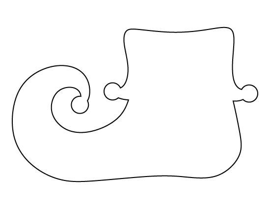 Elf shoe pattern. Use the printable outline for crafts, creating stencils, scrapbooking, and more. Free PDF template to download and print at http://patternuniverse.com/download/elf-shoe-pattern/