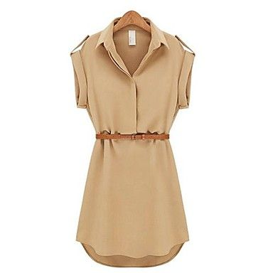Women's Lapel Chiffon Cap Stretch Sleeve Shirt Mini Belted Dress – USD $ 12.34